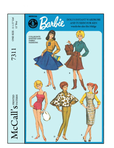 Reproduced McCalls 7311 Midge and Ken Doll Clothes Sewing Patterns Barbie