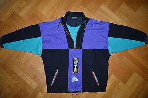 ADIDAS-Original-Track-Suit-Top-Winter-Fleece-Jacket-colorful-Retro-Vtg-RARE-L-XL
