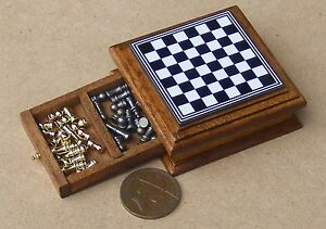 1:12 Scale Chess Set With Wooden Storage Drawer Tumdee Dolls House Accessory