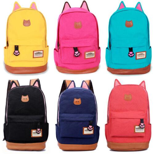 Women Girls Cat Ears Hype Backpack Shoulder Bag Satchel Rucksack School Bookbag