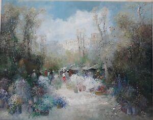 """WILLI BAUER(1923) POST IMPRESSIONIST LARGE OIL CANVAS """"GARDEN SCENE"""" ARTIST BEST"""