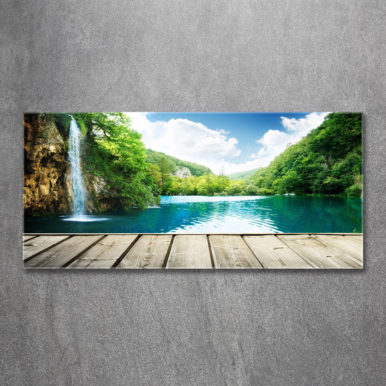 Glas-Bild Wandbilder Druck auf Glas 120x60 Deko Landschaften Wasserfall im Wald