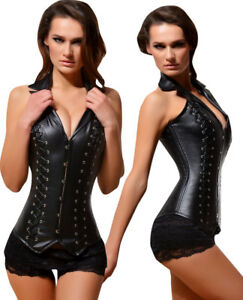 1a0d0c75a3 Leather Over Bust Corset Sexy Steel Bones Lace Up Bustier Basques ...