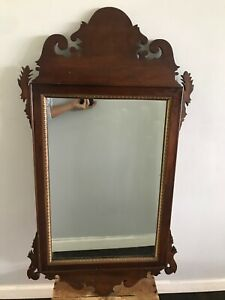 40s Carved Dark Mahogany Wood Trutype Chippendale Ornate Ogee Large Wall Mirror