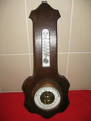 Aufrichtig Barometer Thermometer Wetterstation Holz Rustikal Landhaus Vintage Retro 70er