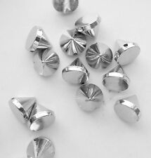 100 Silver Stud Spikes - 10mm - Sew on - Glue on -  Acrylic - Rivets Studs Spike