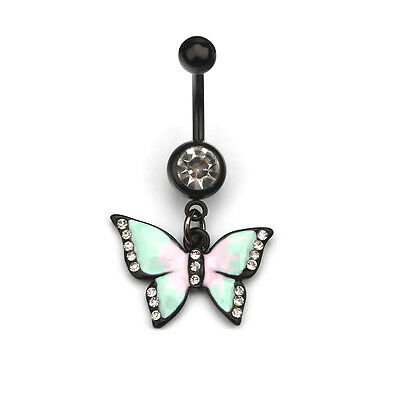 New 1pc Body Jewelry Piercing Butterfly Dangle Navel Animal Belly Button Ring