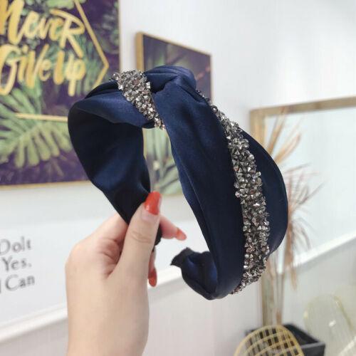 Ladies Tie Crystal Hairband Wavy Cross Hairband Alice Hair Band Hoop Accessories