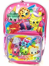 """Shopkins Girl's 16"""" Let's Party School Backpack w/Detachable Lunch Bag"""