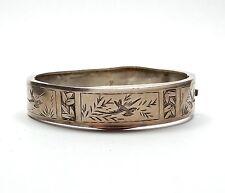 Antique Victorian B'Ham 1885 925 Silver Aesthetic Bird Bangle Bracelet 12.3g