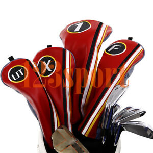 Golf-Wood-Headcover-Set-Driver-Fairway-Hybrid-PU-Leather-for-Taylormade-M4-Adams