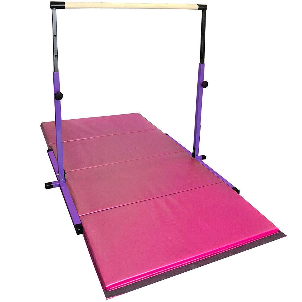 Purple Adjustable Horizontal Gymnastics Bar and 4 X 8 feet Pink Folding Mat