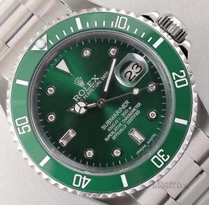 Rolex Submariner 16610 Date Steel 40mm-Diamond Green Dial-Green Ceramic Bezel