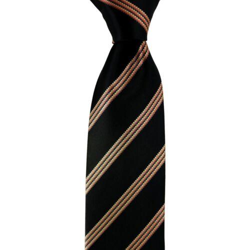 """$195 NWT ITALO FERRETTI Black /& Orange Tone Stripe 3.4/"""" 100/% Satin Silk Neck Tie"""