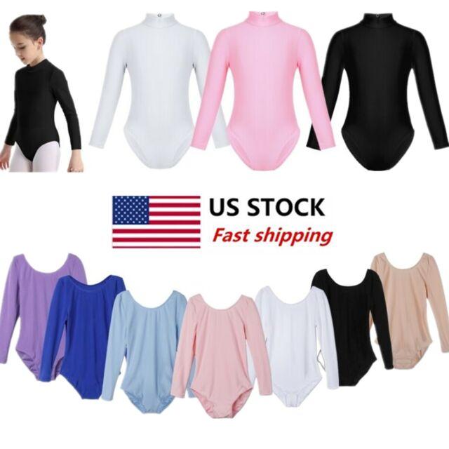 US Girls Kids Long Sleeves Leotard Ballet Gymnastics Workout Dancewear Costumes