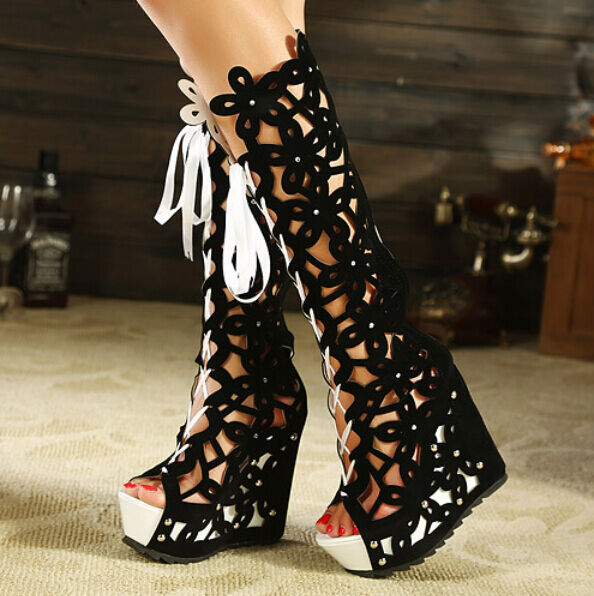 Womens Knee High Hollow Out High Platform Wedge Heel Boots Roma Sandals shoes4-8