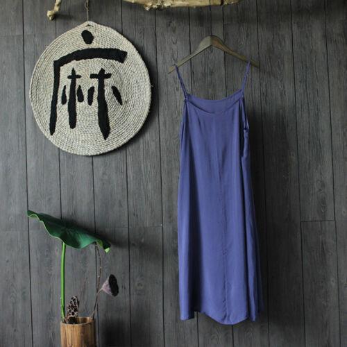 Full Slip Strappy Cotton Under Dress Loose Petticoat Underskirt Chemise Nightie