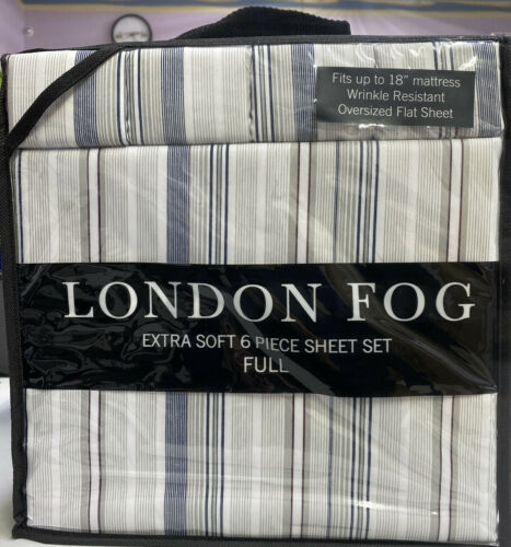 London Fog 6 Piece Full Luxury Sheet Sets Blue Stripes