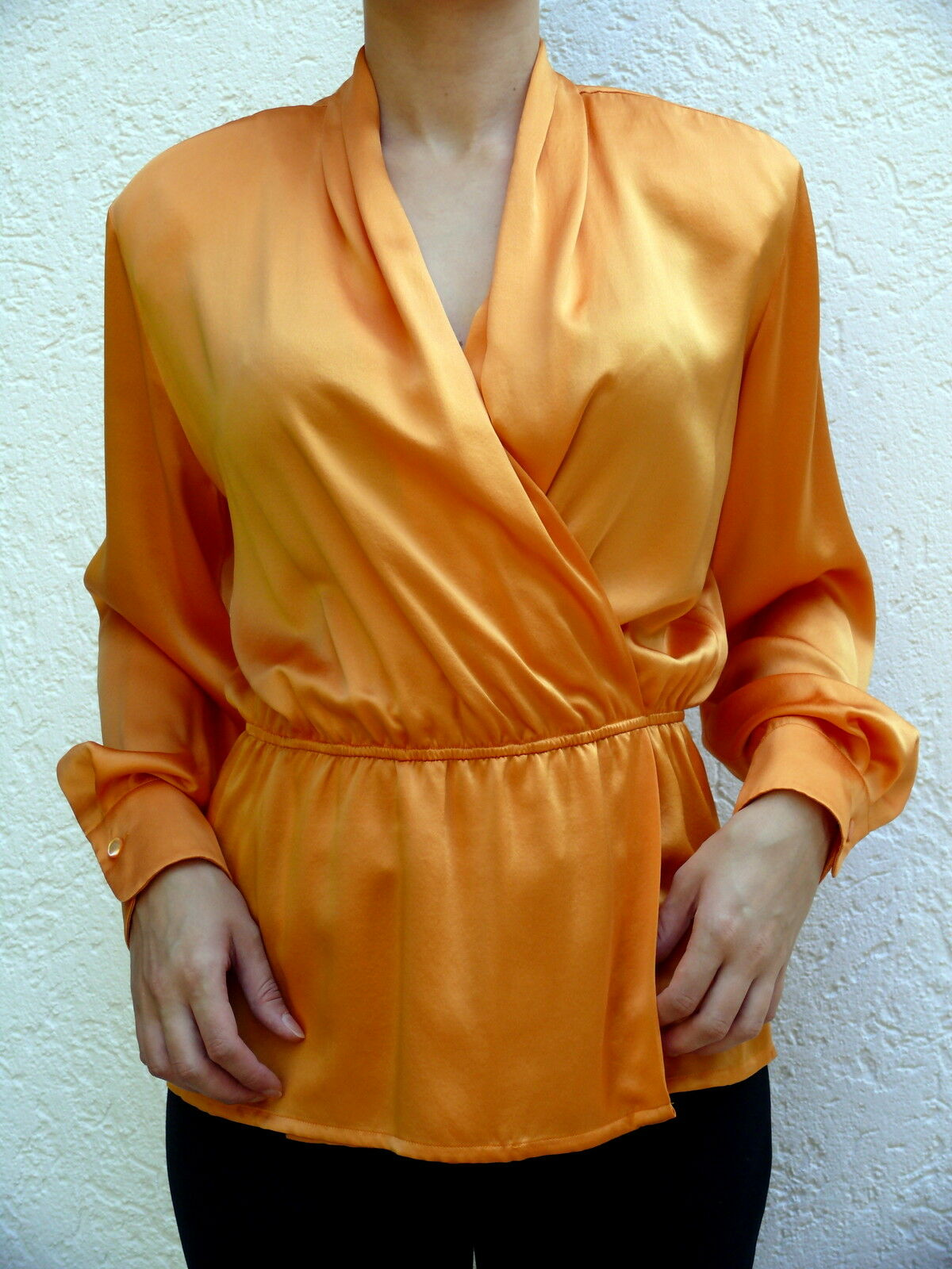 Laurel by Escada  edle SeidenBlause,Tunika Gr. 36 38   Wickel-look  gelb-Orange