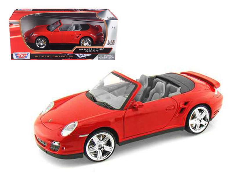 MotorMax Porsche 911 Turbo Cabriolet 1 18 rojo-73183