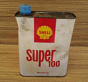ancien bidon d 39 huile shell s100 vide d co de garage vintage ann es 50 old car ebay. Black Bedroom Furniture Sets. Home Design Ideas
