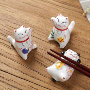 Japanese-Chopstick-Rest-Lucky-Cat-Spoon-Fork-Holder-Rack-Stand-Kitchen-Flatware