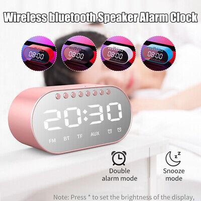 lyray wireless bluetooth digital led mirror alarm clock speaker fm radio bass ebay. Black Bedroom Furniture Sets. Home Design Ideas
