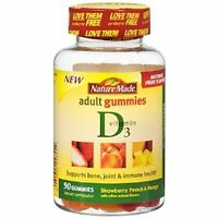 Nature Made Vitamin D3 Adult Gummies, Strawberry, Peach - Mango 90 Ea (3 Pack) on sale