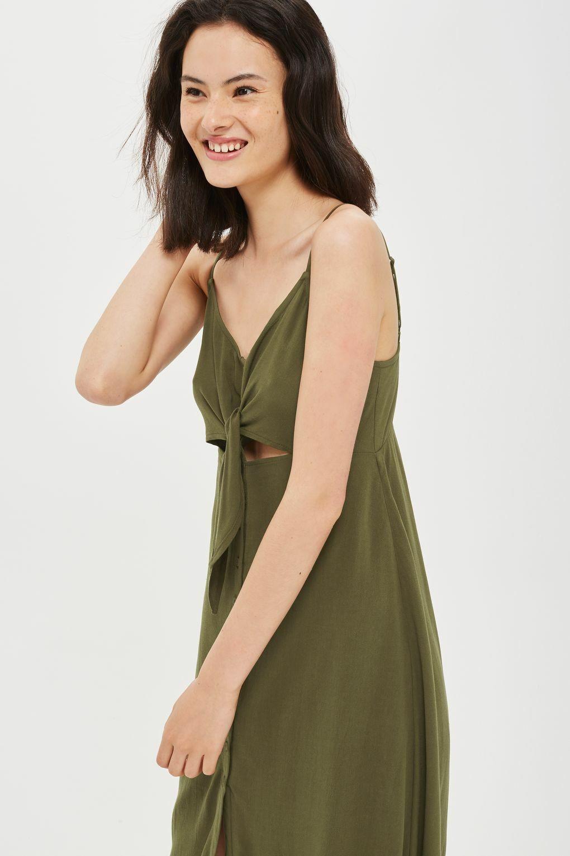 Topshop Olive Khaki Green Button Slip Tie Midi Dress 8