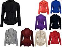 New Women's Ladies Crop Frill Shift Slim Fit Peplum Blazer Jacket Coat Size 8-24