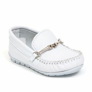 Baby Boy White Leather Loafers Slip on