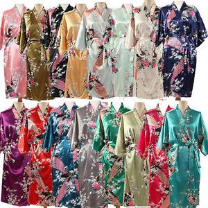 Peacock-Long-Short-Womens-Bridal-Bridesmaid-Kimono-Robe-Satin-Dressing-Gown