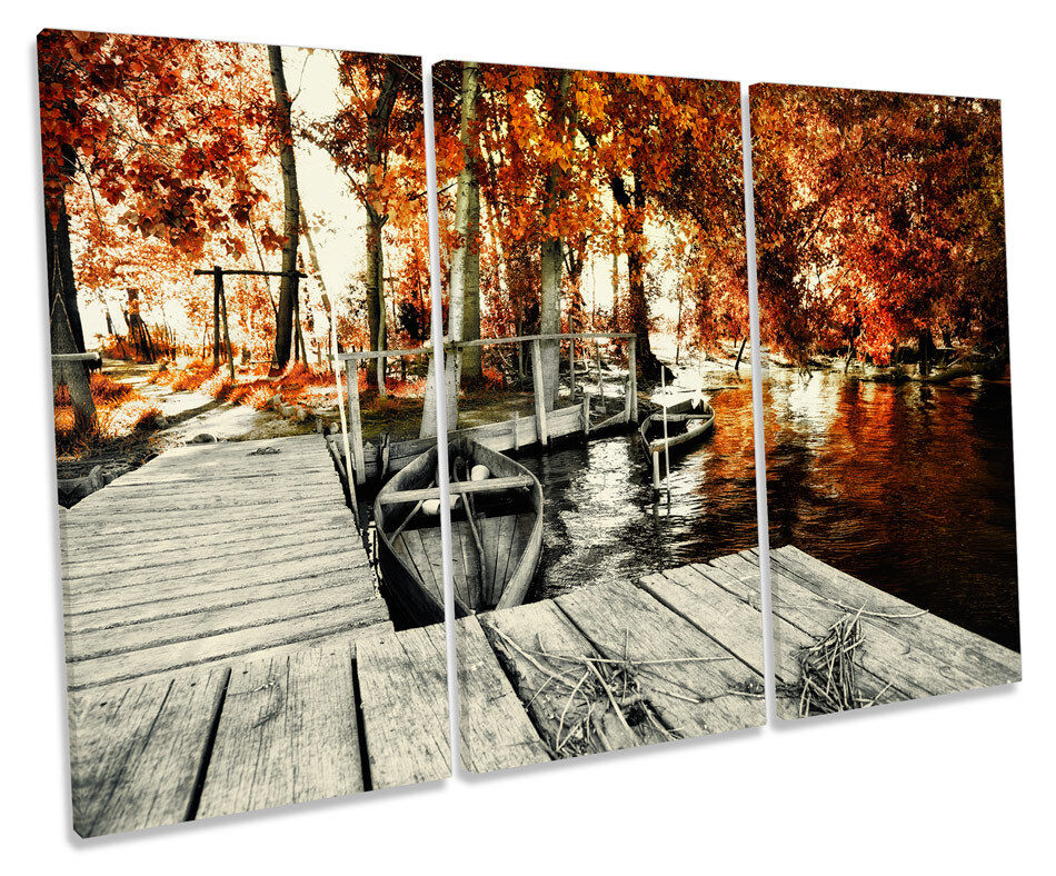 Blossom Floral Landscape Jetty TREBLE CANVAS Wand Kunst Box Framed Bild