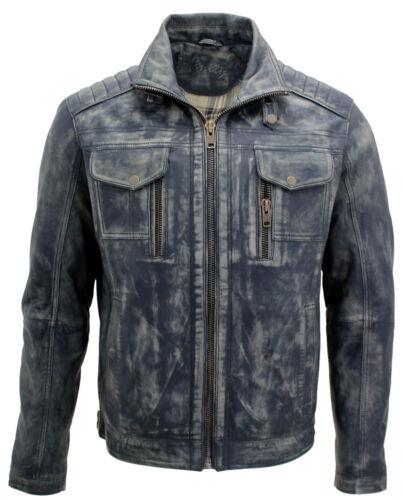 Herren Vintage Blau 100/% Leder Bikerjacke