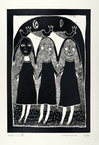 Art brut 17x25 cm nabARus  010215-4-Linogravure- Linocut Linograbado