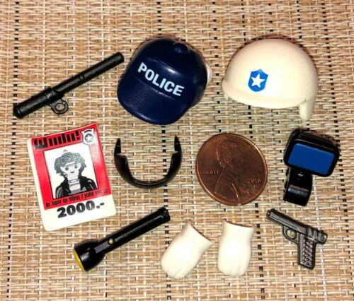 o4~PLAYMOBIL Pick~GUN~HELMET~WANTED FLIER~BATON~MASK~FLASHLIGHT~HEADLAMP~GLOVES