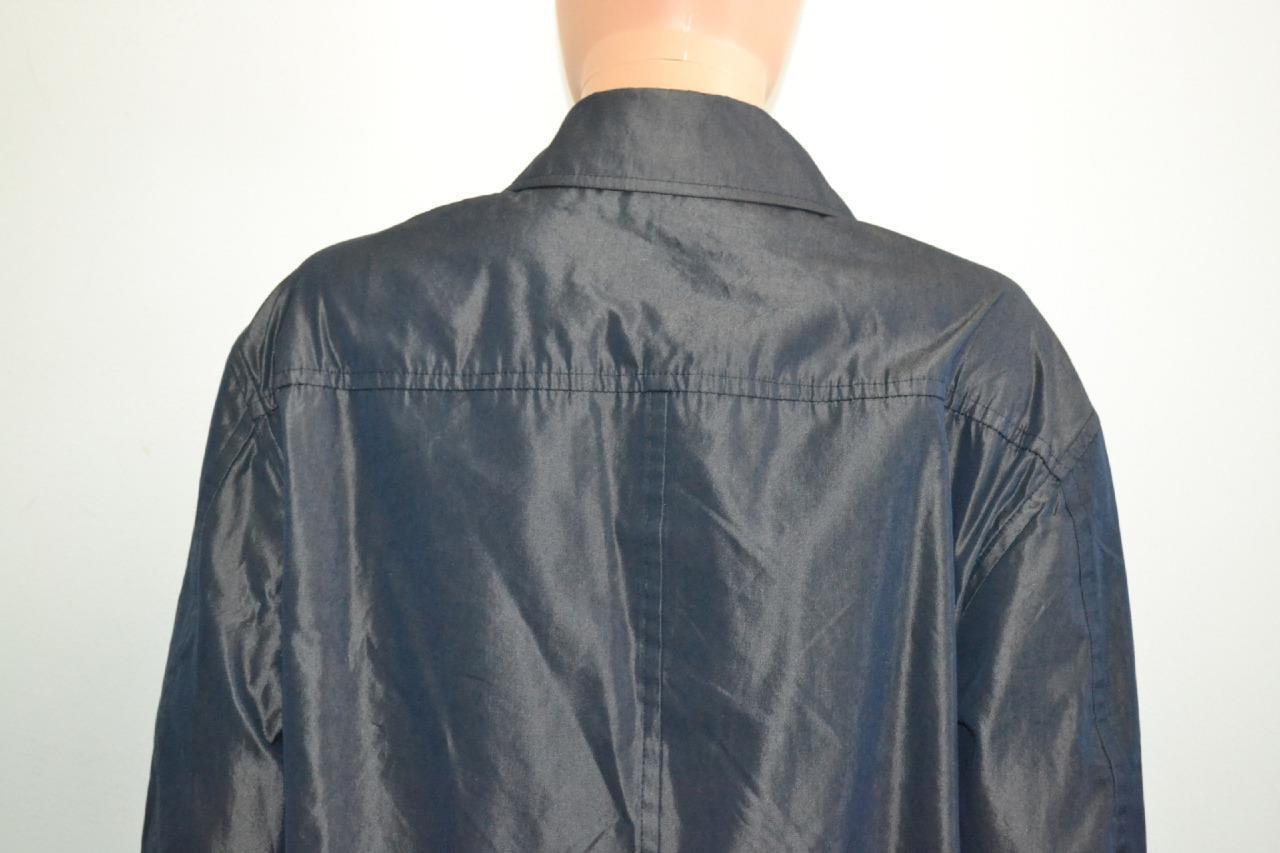 Iceberg Navy Iridescent Cotton Cotton Cotton w  Toggle Waist Light-Weight Trench Coat, Sz 40 10105f