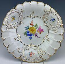 """VTG Meissen Germany Floral Gold Gilt Scalloped Porcelain 12"""" Serving Plate SMS"""