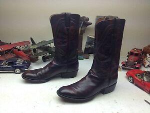 Lucchese San Antonio Usa Black Cherry Leather Square Toe Engineer Boss Boots 10d Ebay