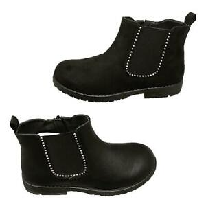 WOMENS KIDS GIRLS CHELSEA BLOCK MID HEEL ANKLE BOOTS SHOES SIZES 10-8