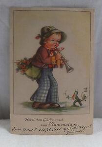 AK-Grusskarte-zum-Namenstag-Kind-Junge-spielt-Floete-1942-als-Feldpost-gelaufen