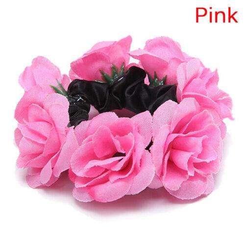 Frauen-Mädchen-Rosen-Blumen-Haar-Band-Seil-elastischer Pferdeschwanz-Halter CBL