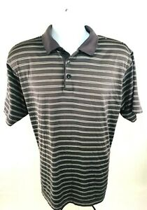 Adidas-Men-039-s-Climacool-Polo-Style-Short-sleeve-Pullover-Gray-Striped-Shirt-Sz-L