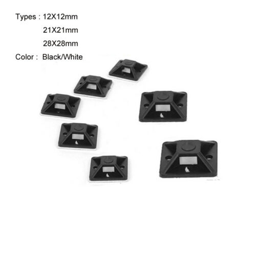 Self Adhesive Cable Tie Mounts Clips for Wire Cable Conduit Tubing Sleeving Base