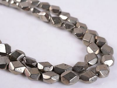 0107 8mm Faceted Pyrite nuggets loose beads 16""
