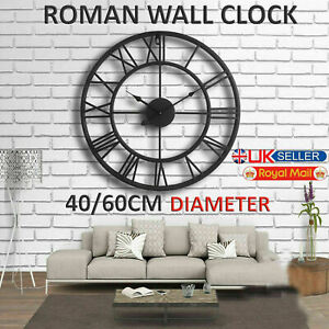 TRADITIONAL-VINTAGE-STYLE-IRON-ROMAN-WALL-CLOCK-NUMERALS-HOME-DECOR-GIFT-ROUND