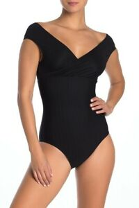 Tahari-Off-the-Shoulder-One-Piece-Swimsuit-9L012H9-Black-M-Medium