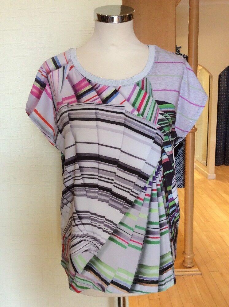 Riani Top Größe 10 BNWT grau With Multicolourot Stripes RRP  Now