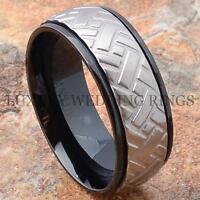 Black Titanium Mens Wedding Band Ring Tire Size 6-13