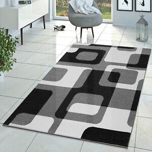 Das Bild Wird Geladen Wohnzimmer Teppich Modern Grau Schwarz Weiss  Retro Muster